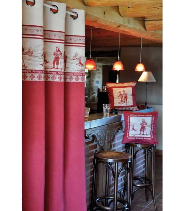 rideau oeillets rouge et gris ambiance chalet. Black Bedroom Furniture Sets. Home Design Ideas
