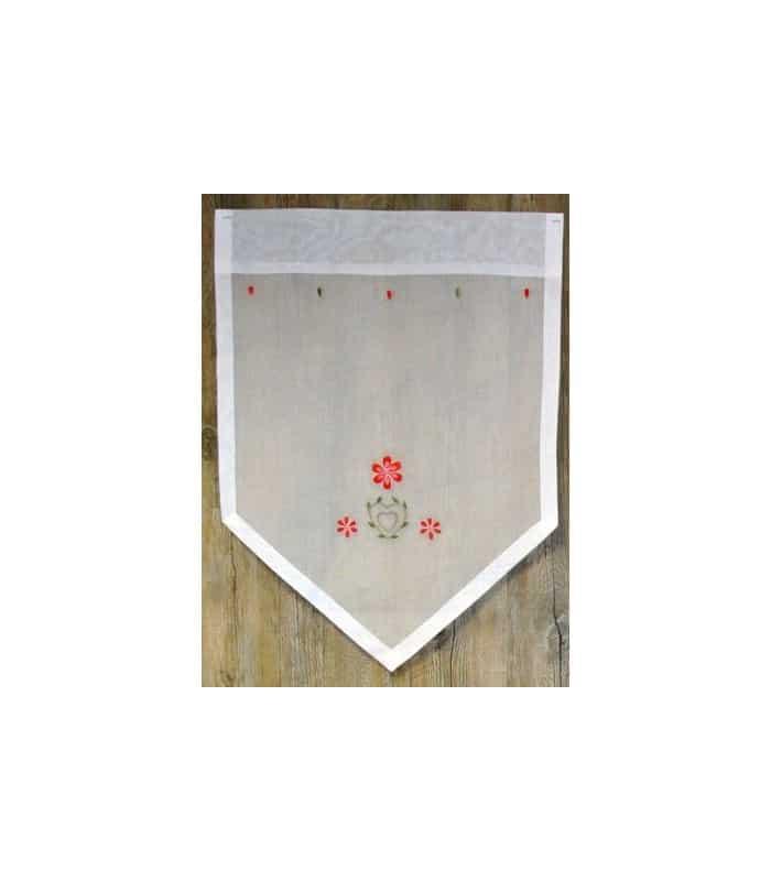paire de vitrage organdi blanc avec broderie romantique. Black Bedroom Furniture Sets. Home Design Ideas
