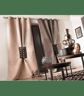 Rideau design avec laçage simili cuir et oeillets