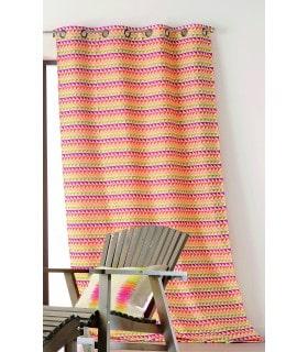 Rideau motif tissé triangle de plusieurs couleurs