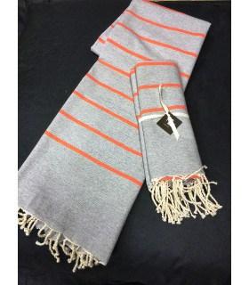 Fouta rayée orange et gris