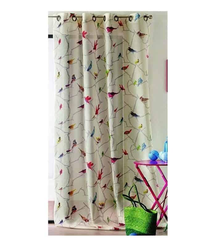 Rideaux Oiseaux rideau à oeillets imprimé oiseaux