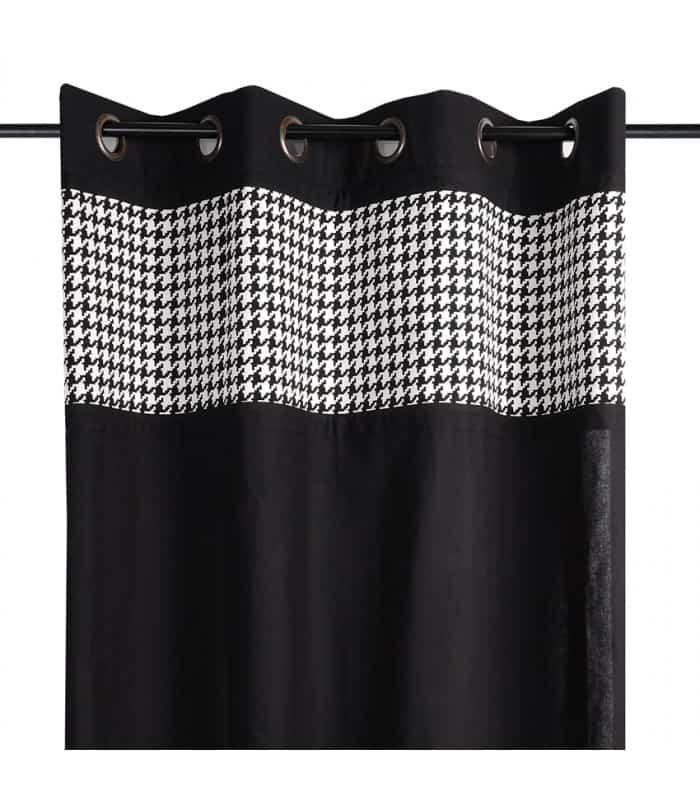 rideau contemporain noir avec bande d cor pied de coq blanc et noir. Black Bedroom Furniture Sets. Home Design Ideas