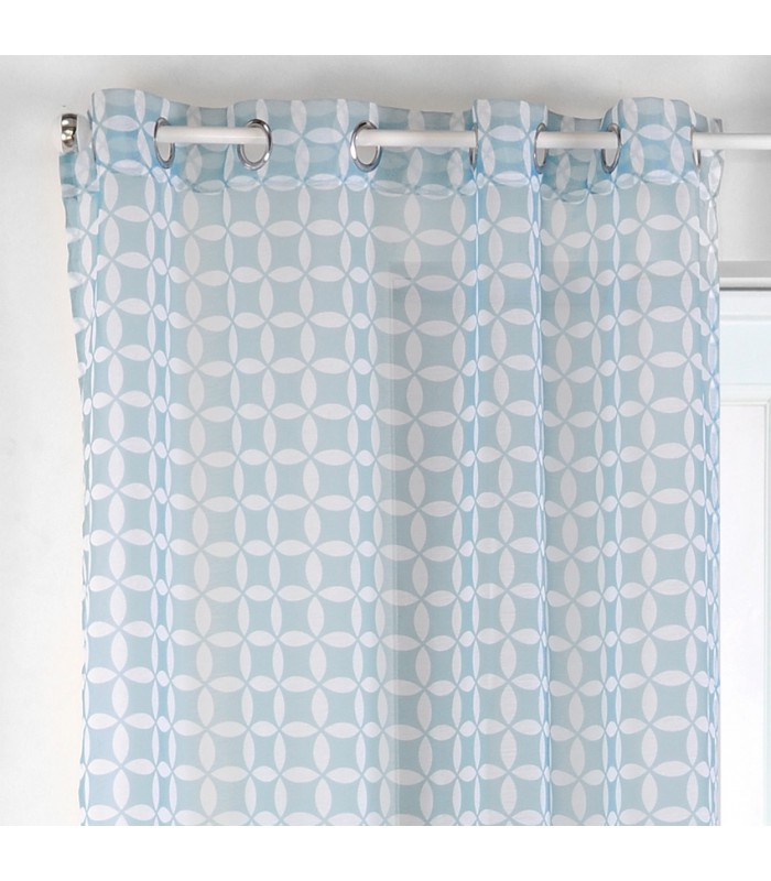 voilage vintage motif géomerique coloris bleu