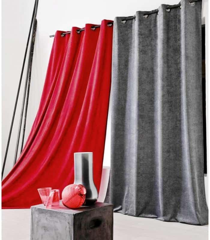 rideau aspect velours coloris uni. Black Bedroom Furniture Sets. Home Design Ideas