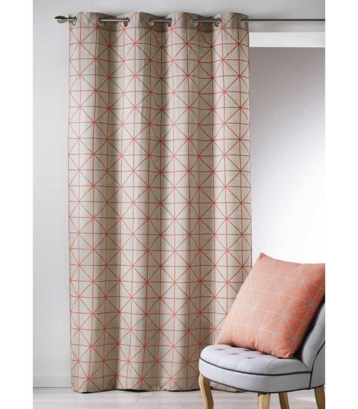 rideau coton contemporain motif g om trque. Black Bedroom Furniture Sets. Home Design Ideas