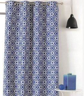 Rideau bleu motif étoile