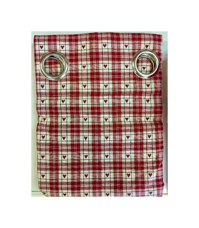 Rideau oeillets et carreaux rouge et blanc motif coeur id al pour une ambiance chalet en montgane - Rideau campagnard ...