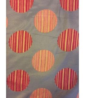 Tissu jacquard bleu motif ronds tissés