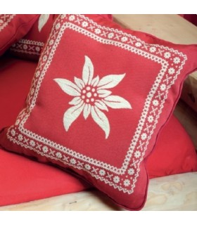Coussin rouge motif edelweiss