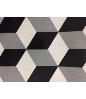 Tissu plastifié motif cube noir