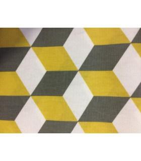 Tissu plastifié motif cube moutarde