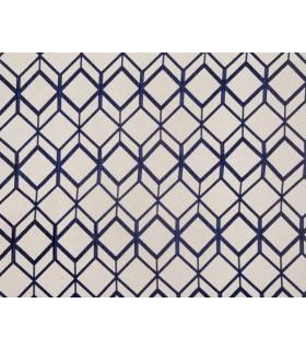Tissu jacquard motif cube bleu