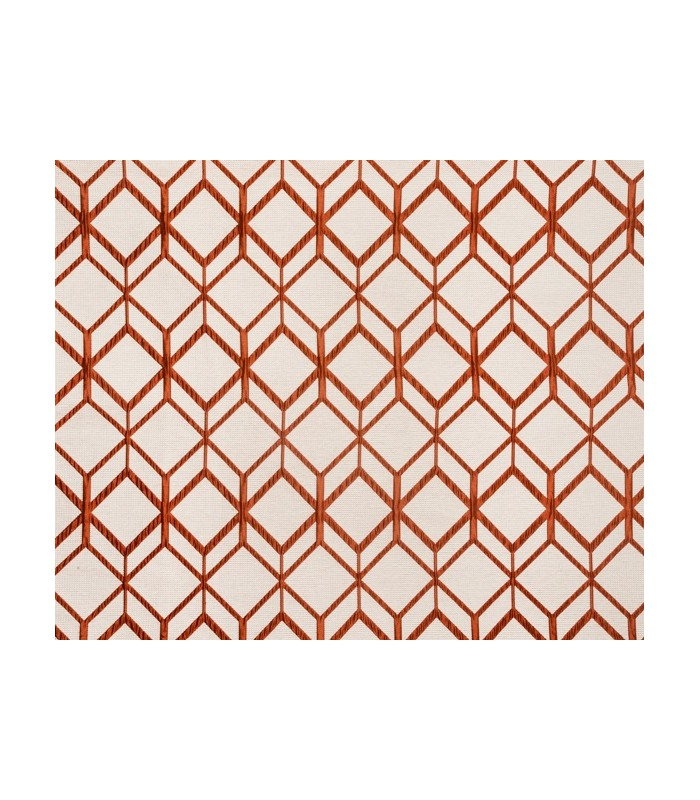 Tissu jacquard motif cube orange