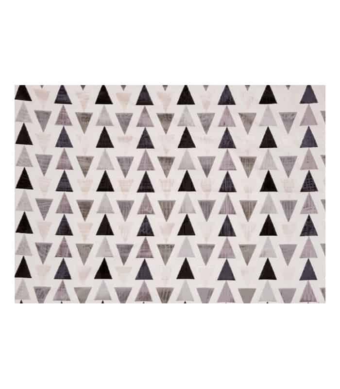 Tissu en velours motif triangle gris anthracite for Tissus ameublement velours motif