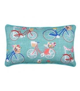 Coussin imprimé bicycle bleu  turquoise