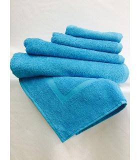 Serviette de toilette invité 30x50 cm couleur Turquoise