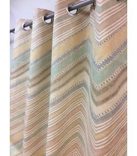 Rideau vintage géométrique en coton et jute