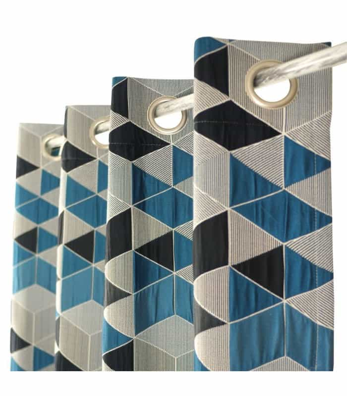 Rideau contemporain et vintage motif cube