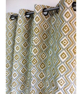 Rideau vintage  jaune motif géométrique