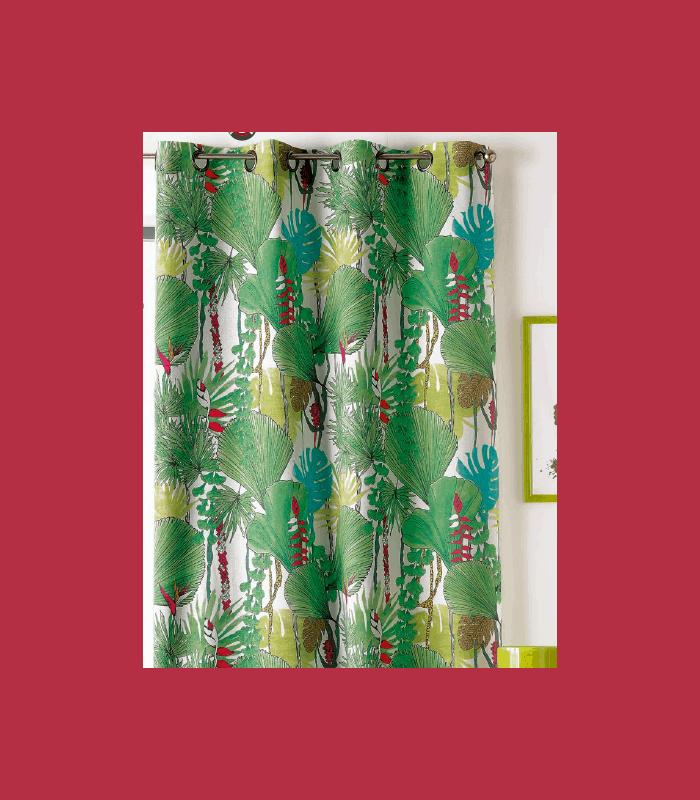 rideau motif jungle grosses feuilles vertes. Black Bedroom Furniture Sets. Home Design Ideas