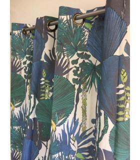 Rideau ambiance jungle motif feuille bleu