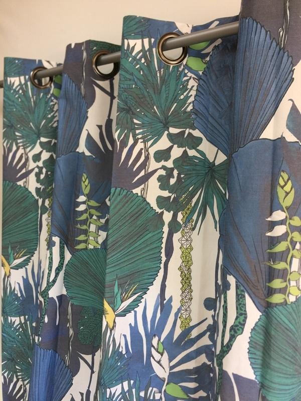 Rideau Motif Jungle Grosses Feuilles Bleues