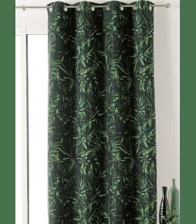 Rideau tendance motif feuille verte