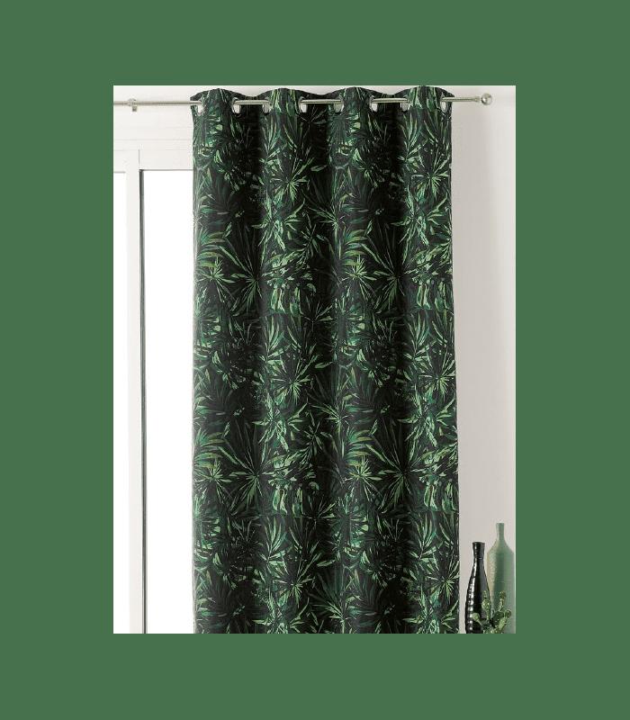 Rideau tendance motif feuilles vertes