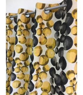 Rideau contemporain motif boules jaunes