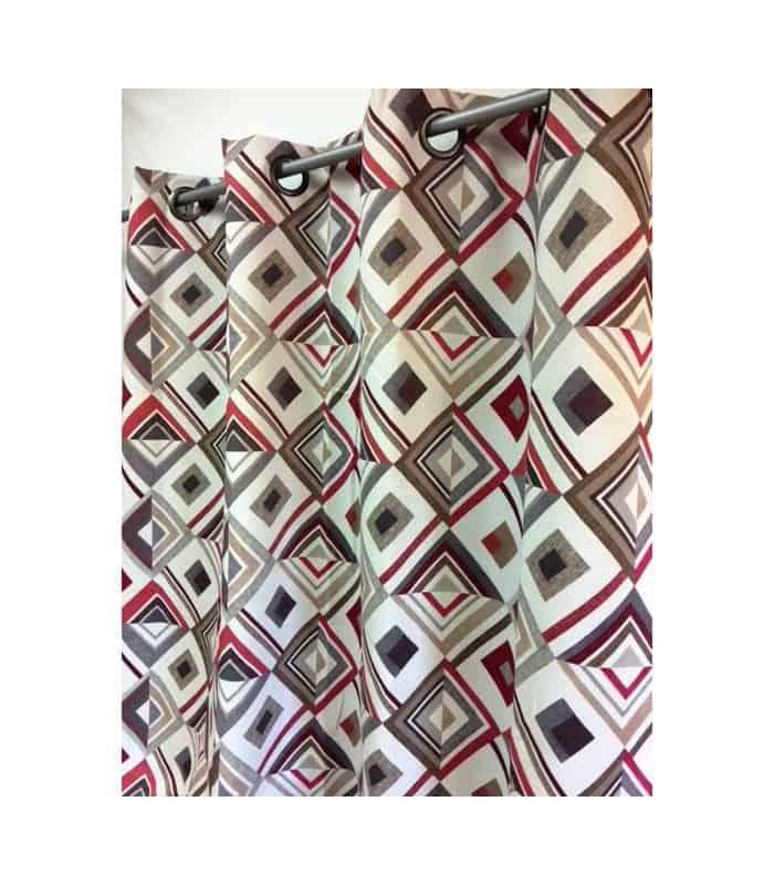 rideau occultant contemporain motif losange rouge. Black Bedroom Furniture Sets. Home Design Ideas