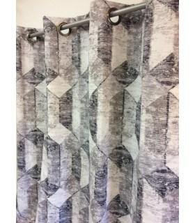 Rideau occultant effet usé motif losange gris