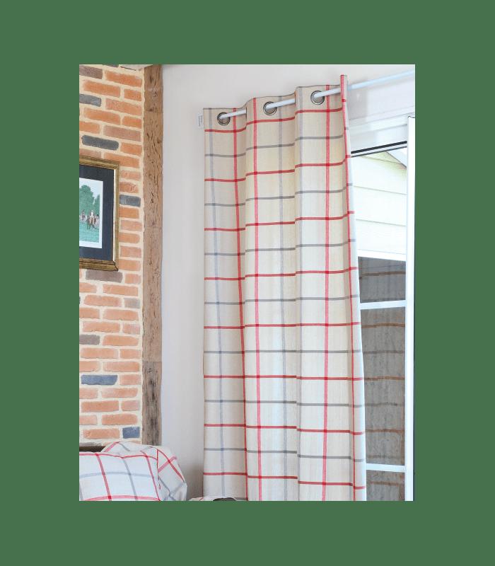 rideau rustique carreaux rouge et gris. Black Bedroom Furniture Sets. Home Design Ideas