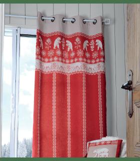 Rideau montagne rouge motif ours