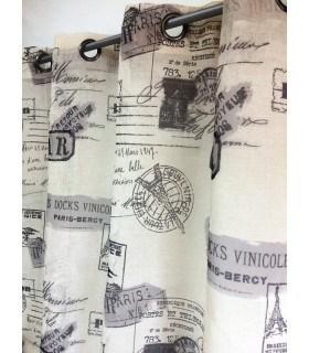 Voilage imprimé motif tampon postal