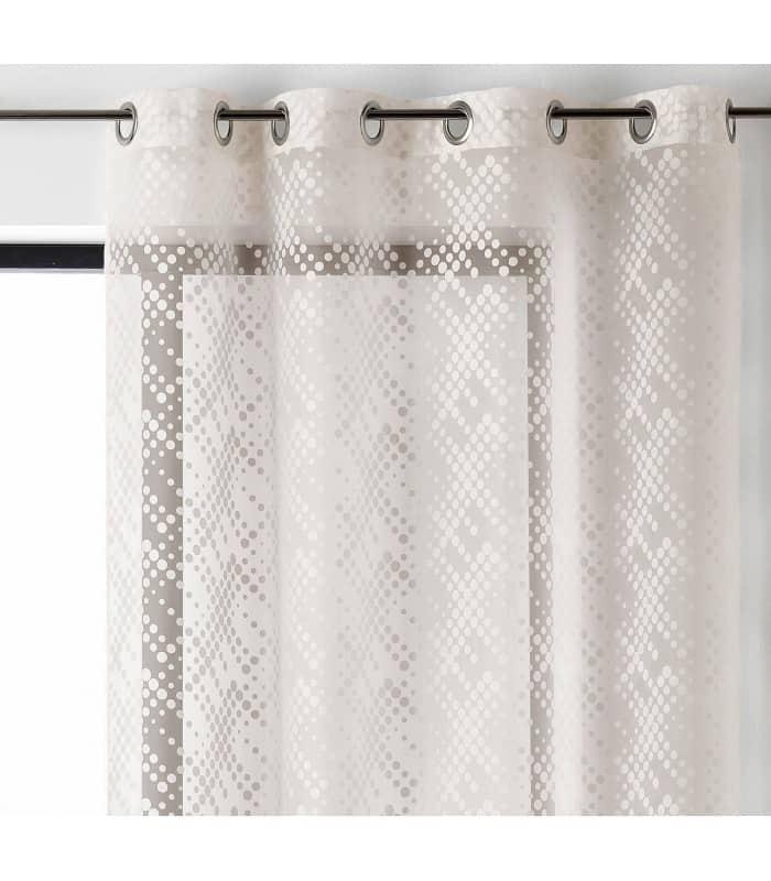voilage fantaisie avec motif rond blanc. Black Bedroom Furniture Sets. Home Design Ideas