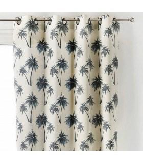 Rideau écru avec motif palmier