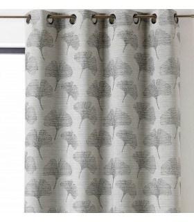 Rideau motifs feuilles grises