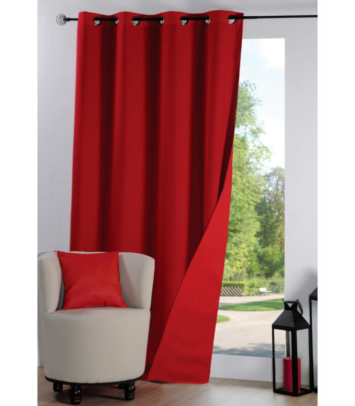 rideau anti froid thermique et isolant uni rouge. Black Bedroom Furniture Sets. Home Design Ideas
