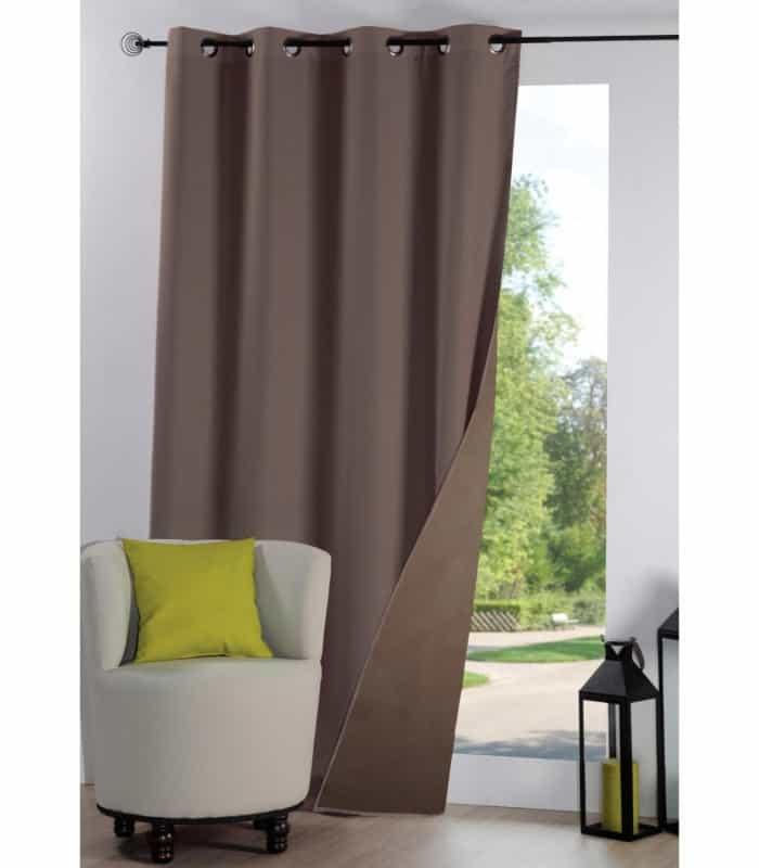rideau anti froid thermique et isolant uni taupe. Black Bedroom Furniture Sets. Home Design Ideas