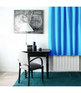 Rideau occultant court turquoise