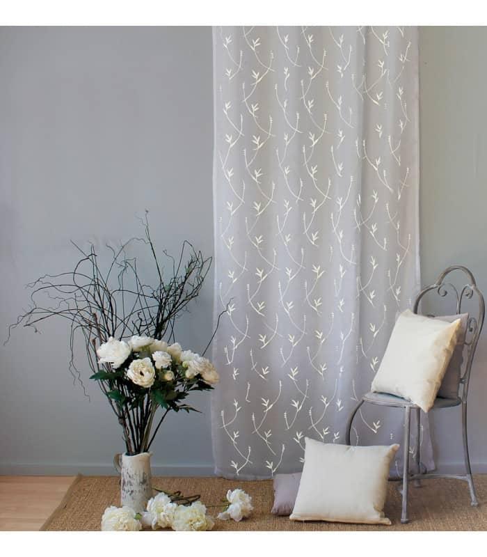 Voilage motifs fleurs brodées coloris blanc