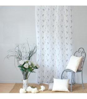 Voilage à fleurs brodées coloris gris