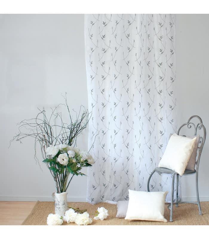 Voilage motifs fleurs brodées coloris gris