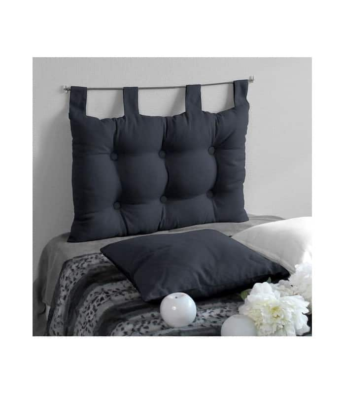 t te de lit capitonn e gris anthracite 19 90. Black Bedroom Furniture Sets. Home Design Ideas