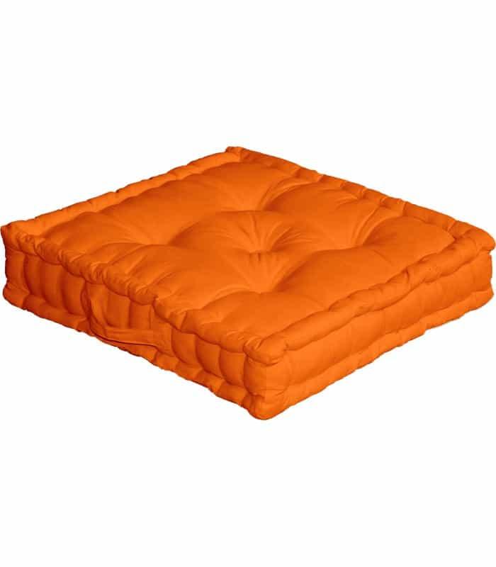 Coussin de sol uni orange