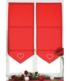 Vitrage en pointe rouge brodé coeur écru style lin