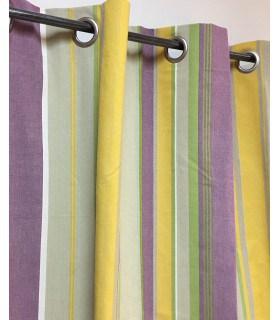 Rideau rayure en toile coton jaune et mauve