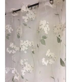 Voilage hortensia blanc et vert d'eau
