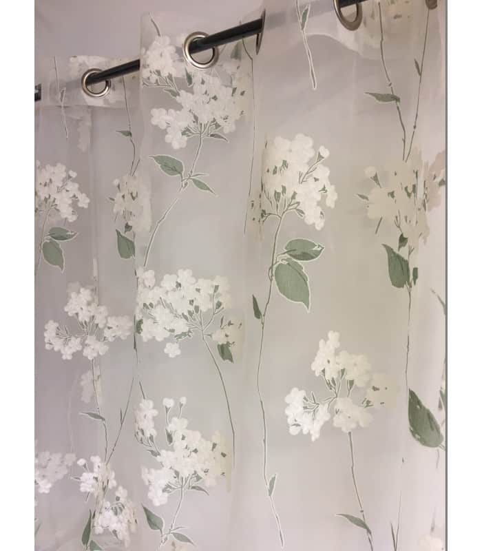 voilage transparent blanc imprim de fleurs d 39 hortensia blanc mat et vert clair. Black Bedroom Furniture Sets. Home Design Ideas